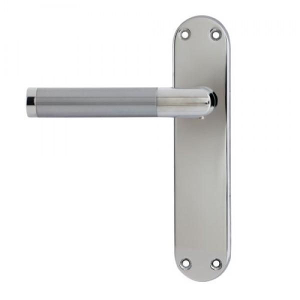 ... DOOR HANDLE SATIN CHROME POLISHED CHROME LATCH BACKPLATE/KEY  LOCK/BATHROOM/EURO. IMAGE