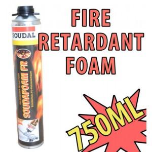 SOUDAL SOUDAFOAM FR FIRE RATED RETARDANT RESISTANT GUN GRADE EXPANDING FOAM PU FOAM 750ML